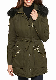GUESS Button Front Parka With Faux Fur Hood