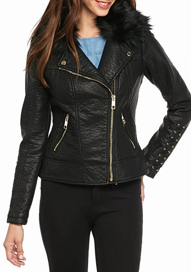 GUESS® Asymmetrical Zip Jacket with Corset Sleeve