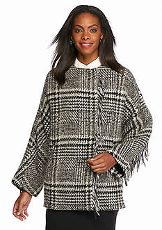 Bernardo Black and White Fringe Poncho
