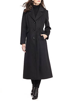 Forecaster Boston Notched Collar Button Up Long Wool Coat