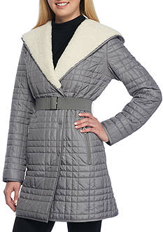 Kenneth Cole Quilted Coat with Sherpa Hood