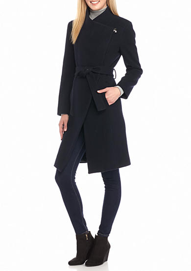 Kenneth Cole Asymmetrical Funnel Neck Belted Coat
