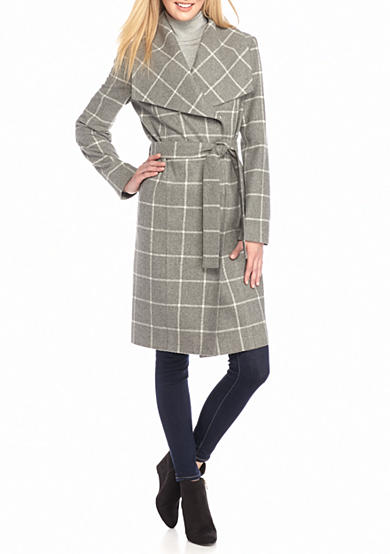 Kenneth Cole Long Wrap Belted Coat