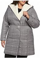 Kenneth Cole Plus Size Quilted Coat with Sherpa