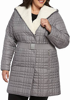 Kenneth Cole Plus Size Quilted Coat with Sherpa Hood