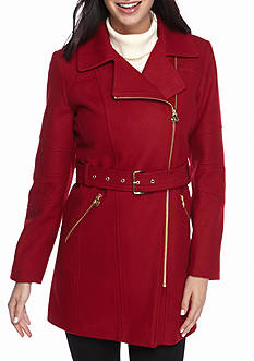 MICHAEL Michael Kors Asymmetrical Zip Notch Collar Jacket