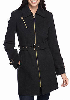 MICHAEL Michael Kors Center-Zip Belted Jacket