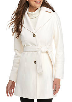 MICHAEL Michael Kors Single Breasted Notch Collar Self Belted Fit and Flare