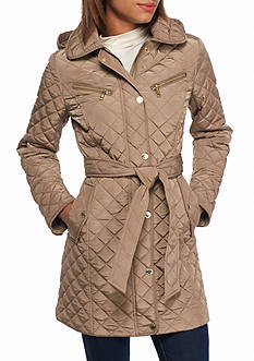 MICHAEL Michael Kors Covered Zip Placket With Hood Self Belted Coat