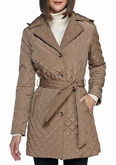 MICHAEL Michael Kors Self Belt Notch Collar Poly Jacket