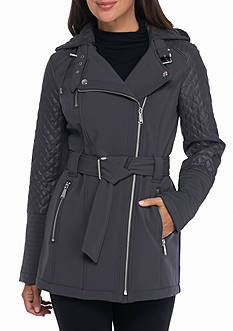 MICHAEL Michael Kors Asymmetric Zip with Hood and Knit Inset
