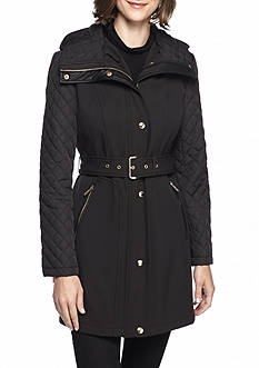 MICHAEL Michael Kors Quilt Sleeve Hooded Trench Coat