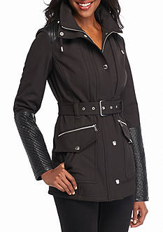 MICHAEL Michael Kors Snap Button Dip Hem Belted Coat