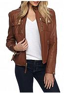 MICHAEL Michael Kors Zip Front Leather Jacket