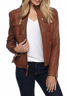 MICHAEL Michael Kors Zip Front Leather Jacket