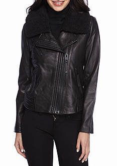 MICHAEL Michael Kors Zip Knit Trim with Wing Collar