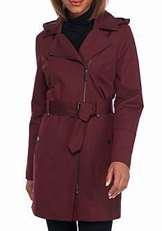 MICHAEL Michael Kors Off Centered Zip Coat with Belt and Hood