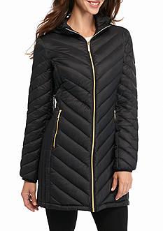 MICHAEL Michael Kors Chevron Stitch Zip Front Down Coat with Hood