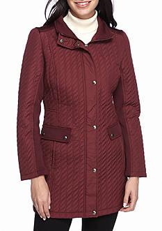 Weatherproof Twist-Quilt Mid Length Coat
