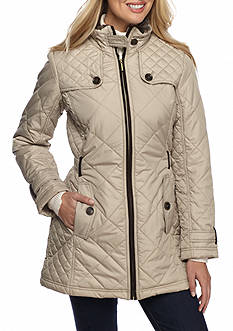 WEATHERPROOF Mid length Quilted Faux Fur Lining