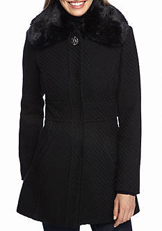 Jessica Simpson Fit And Flare Faux Fur Jacket