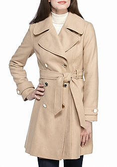 Jessica Simpson Self Tie Pleated Walker Coat