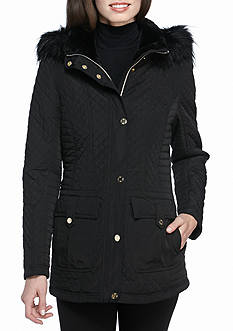 Jessica Simpson Quilted Button Front Coat