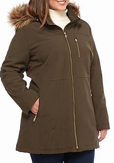 Calvin Klein Women's Plus Zip Front Coat with Faux Fur Trim Hood