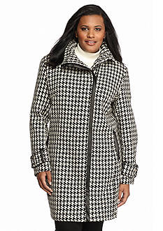 Calvin Klein Plus Size Asymmetrical Zip Houndstooth Coat