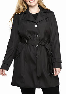 Calvin Klein Plus Size Single Breasted Trench With Hood