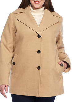 Calvin Klein Women's Plus Button Front Peacoat