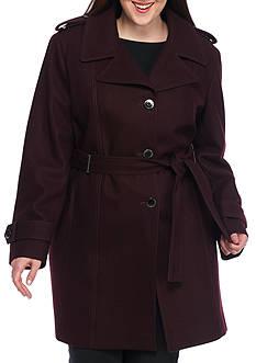 Calvin Klein Women's Collared Wool Trench Coat