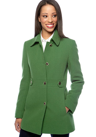 Calvin Klein Four Button Birds Eye Wool Coat