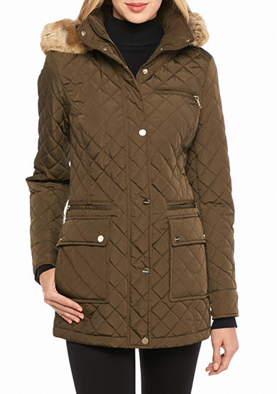 Calvin Klein Women's Front Snap Puffer Coat with Faux Fur Collar