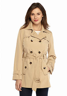Calvin Klein Short Double Breasted Trench with Belt