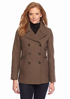 Calvin Klein Double-Breasted Basket Weave Coat