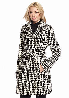 Calvin Klein Double Breasted Tie Waist Houndstooth Walker