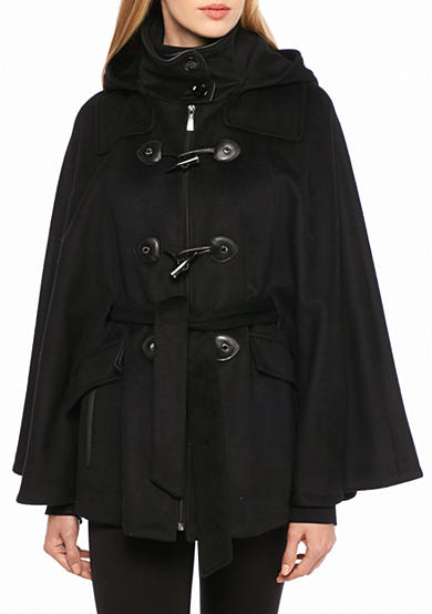 Calvin Klein Women's Hooded Toggle Cape with Belt