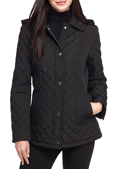 Calvin Klein Quilted Pattern Snap Front Coat