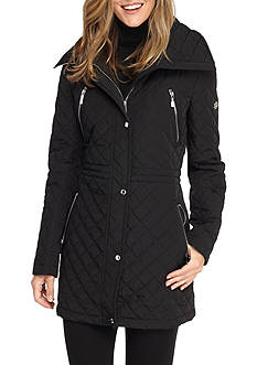 Calvin Klein Quilted Snap Front Coat With Hood