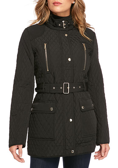 Calvin Klein Women's Quilted Front Button Trench Coat with Tie