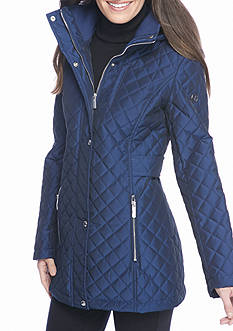 Calvin Klein Quilted Snap Hood with Diamond Pattern Jacket