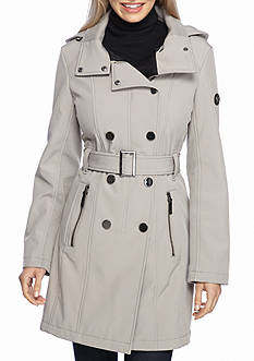 Calvin Klein Double Breasted Trench Coat with Hood