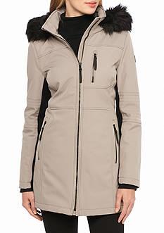 Calvin Klein Women's Front Zip Faux Fur Collar