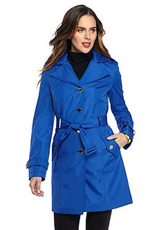 Calvin Klein Classic Single-Button Trench Coat With Print Lining