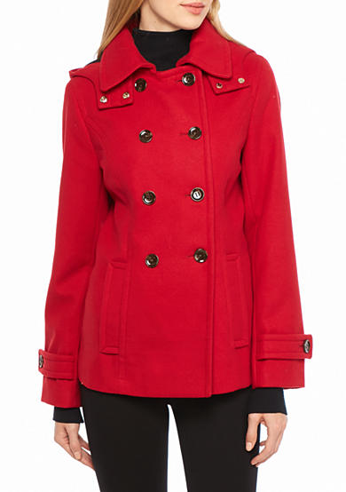 Calvin Klein Double Button Hooded Peacoat