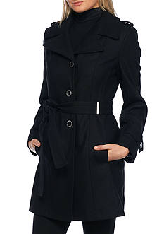 Calvin Klein Button Front Trench with Belt