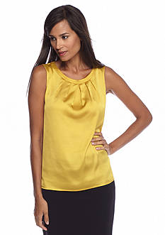 Kasper Crystal Charmeuse Pintuck Neck Cami