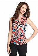 Kasper Print Sleeveless Blouse