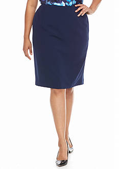 Kasper Plus Size Solid Stretch Crepe Skirt